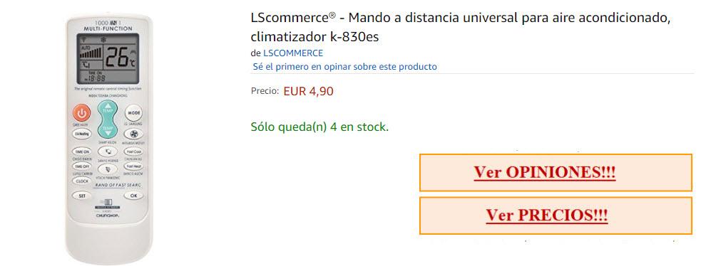 control remoto universal aire acondicionado lscommerce barato por menos de 5 euros de precio