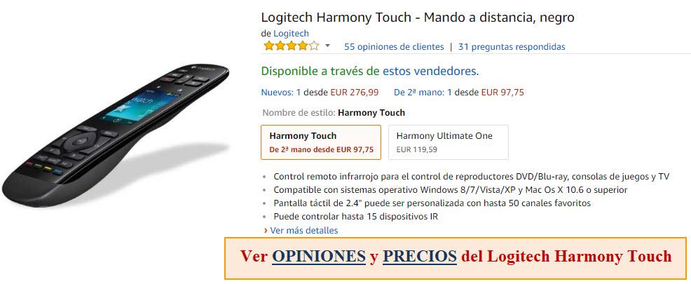 mando a distancia logitech harmony touch opiniones, ofertas y precios